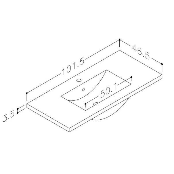Seville vask 100cm