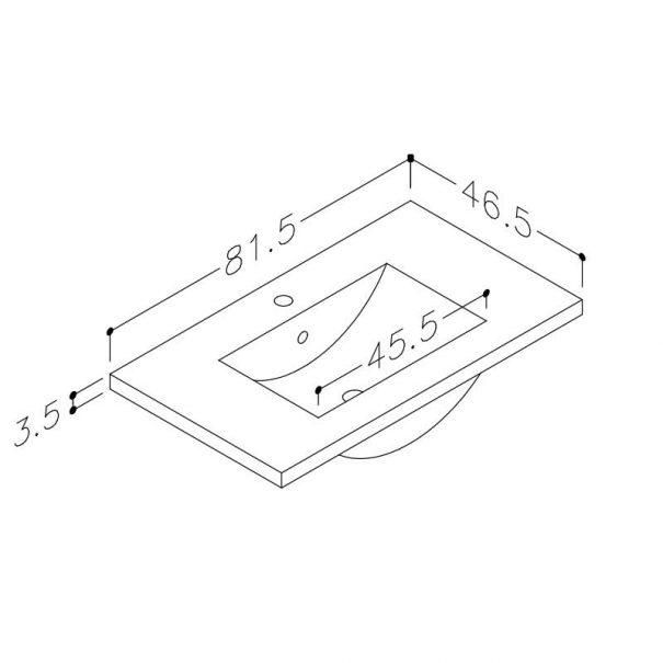 Seville vask 80cm