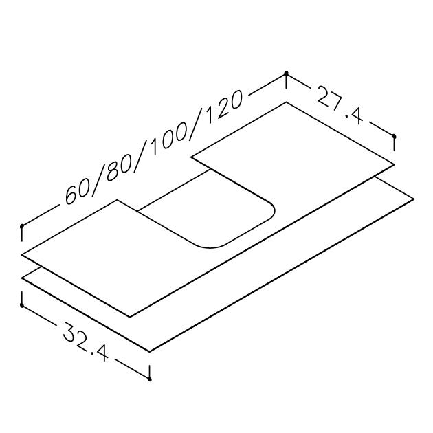 Image of Gummimåtte sæt til vaskeskabe (27/32 cm dybde)